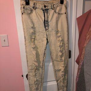 Denim - High waisted acid washed distressed jeans